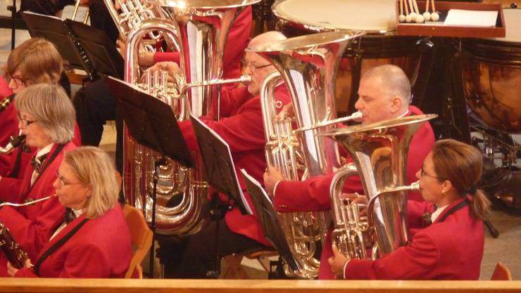 Instrumentalisten und Musikantinnen konzentriert während des Konzerts
