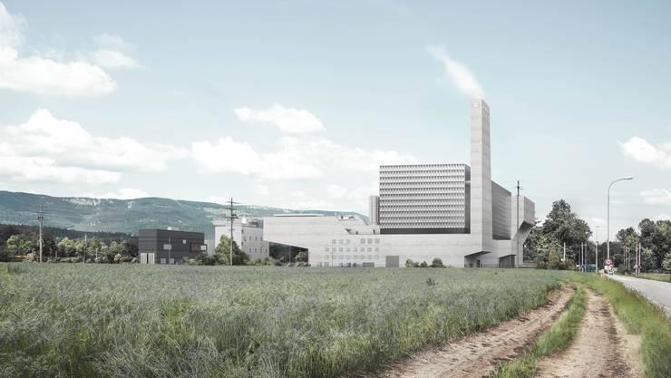 Visualisierung des Neubaus: Von der Hauptstrasse Zuchwil in Richtung Luterbach aus gesehen.