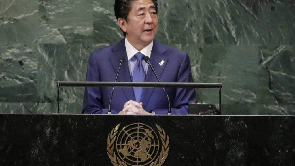 Japans Ministerpräsident Shinzo Abe hat an der Uno-Vollversammlung in der Nacht auf Mittwoch ein anderes Verhältnis seines Landes zu Nordkorea angekündigt.