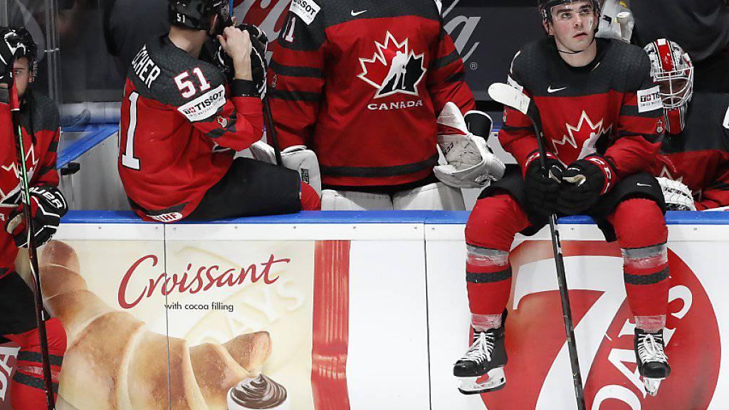 Bitter enttäuschte Kanadier nach der 1:3-Niederlage im WM-Final gegen Finnland