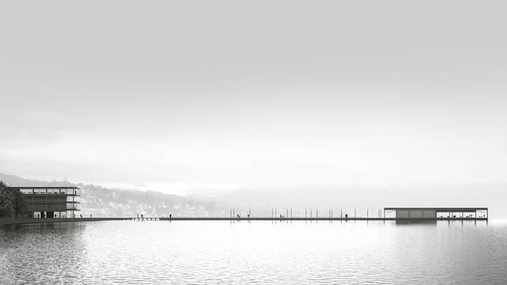 Der 17 Meter breite öffentliche Pier reicht 150 Meter ins Wasser hinaus und wird mit Sitzgelegenheiten ausgestattet.