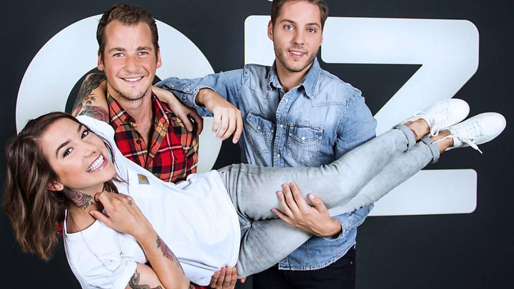 Die neuen Moderatoren bei Joiz: Verena Kosheen, Philip Wiederkehr (links) und Daniel Fanslau (zVg).