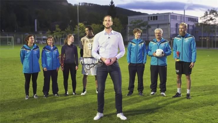 Sportverein-Olten-Präsident Luis Geiser (vorne) im Video, das der Verein für die Crowdfunding-Aktion erstellen liess.