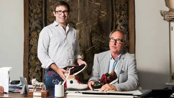 Marc Ammann, CEO und sein Vater Rolf Ammann, Geschäftsführer von Ammann & Co, am 14. August 2017 in Oberentfelden. Der Familienbetrieb Ammann produziert seit 100 Jahren Schuhe.