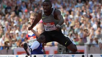 Kerron Clement (USA), Olympiasieger von Rio über 400m Hürden.
