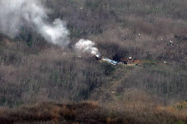 Der abgestürzte Helikopter, in dem Kobe Bryant und seine 13-jährige Tochter Gianna umkamen, in Calabasas/Kalifornien.