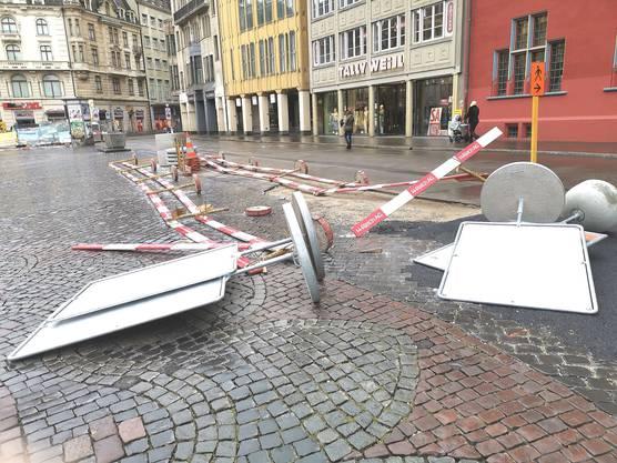 Sturm «Uwe» beim Basler Marktplatz.