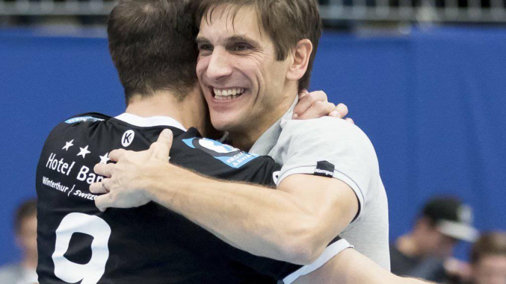 Pfadi-Coach Adrian Brüngger darf sich über einen Prestigeerfolg freuen