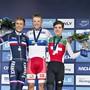 Der Berner Marc Hirschi, (rechts) nach dem U23-Bronzegewinn an der Strassen-EM 2017 im dänischen Herning