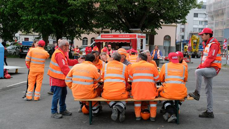 An der Protestaktion nahmen vor allem Bauarbeiter der Implenia teil.