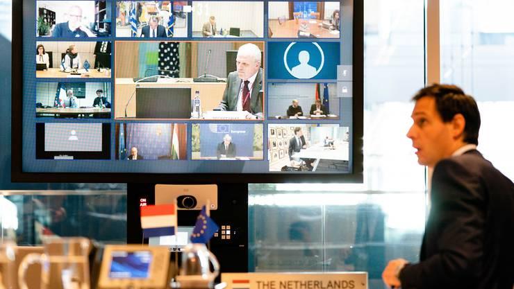 Hollands Finanziminister Wopke Hoekstra bei der Videokonferenz mit seinen europäischen Kollegen.