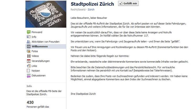Zürcher Stadtpolizei auf Facebook: Noch ist die Seite leer, doch dies soll sich bald ändern.
