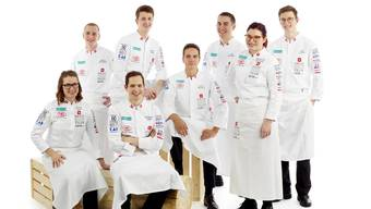 Die Schweizer Junioren-Kochnationalmannschaft mit (von links): Bettina Marti, Marco Kölbener, Normand Jubin, Dominik Roider, Eliott Neuhaus, Tim Hoffmann, Ann-Sophie Bernhard und Jan Schmid.