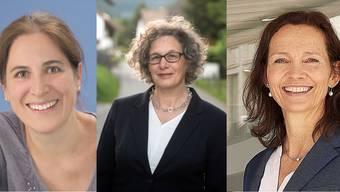 Konnten triumphieren: Caroline Bürgi-Boiteux (43, Grüne) aus Aarau, Pia Wildberger (51, SP) aus Küttigen und Martina Suter (56, FDP) aus Aarau.
