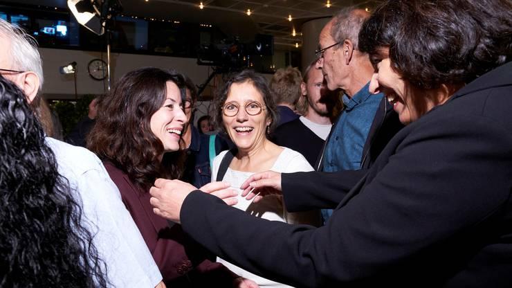 Linksgrüner Jubel: SP-Kandidatin Tanja Soland, Basta-Co-Präsidentin Heidi Mück und Regierungspräsidentin Elisabeth Ackermann.