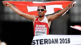 Wiederholt sich dieses Bild in Berlin? Tadesse Abraham läuft im Marathon am Sonntagmorgen um Gold.