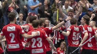 Die Spieler von Unihockey Basel Regio möchten in diesem Jahr den Aufstieg in die NLA bejubeln.