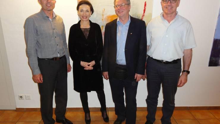 Die anwesenden NR-Kandidatin und -Kandidaten von links nach rechts: Martin Steinacher, Marianne Binder, André Rotzetter, Werner Müller