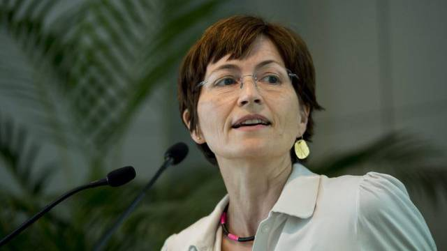 Die Co-Präsidentin der Grünen, Regula Rytz, an der DV in Visp
