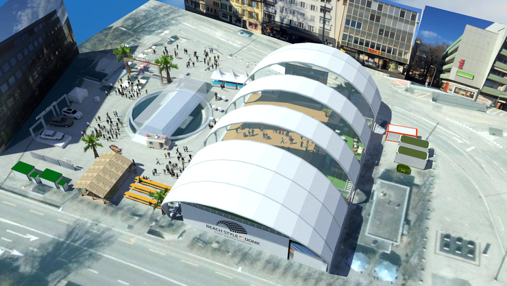 Mit einem 15 Meter hohen Public-Viewing-Monument wagt sich das Team rund um «Beach Style» auf dem Dornacherplatz an neue Massstäbe.