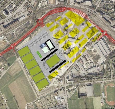 Ein Szenario des Sportstättenberichts 2005: Die vollständige Verlagerung aller Sportstätten nach Olten SüdWest ins Gebiet links der heutigen Bühnenstrasse sei ein «Idealfall».
