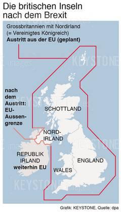 Tritt Grossbritannien mit seinen vier Landesteilen aus der EU aus, entsteht eine Grenze zwischen Nordirland und der Republik Irland.