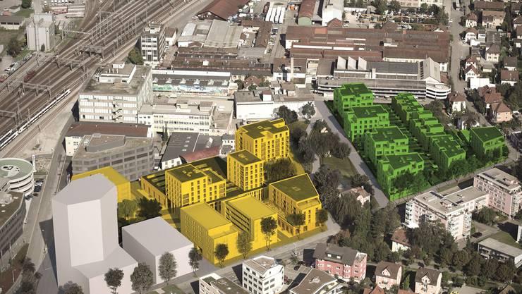 Torfeld Süd: Zuvorderst das Hochhaus der Gastro Social (bereits in Bau), gelb markiert das Baufeld 2 (liegt jetzt auf), dahinter das neue Stadion-Gebiet. Grün das Gartenquartier, dazwischen der Oehlerpark (diese Projekte folgen noch). ho/ssa