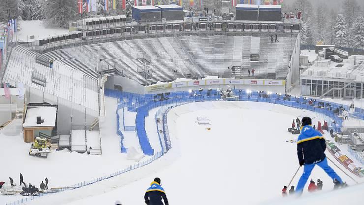 So gut sind die Verhältnisse auf der WM-Strecke in St. Moritz am Montag nicht