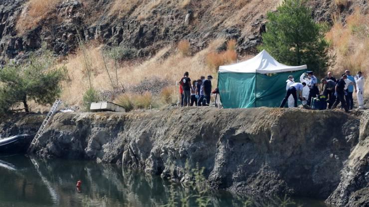 Der Baggersee in der Nähe der Stadt Xiliatos auf Zypern, in dem das sechsjährige Mädchen gefunden wurde.