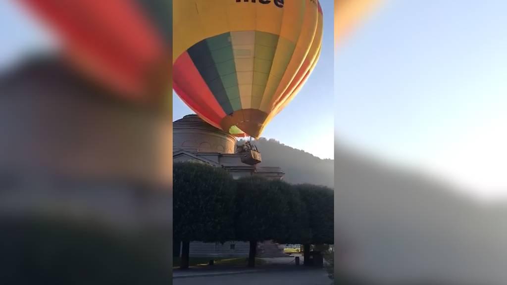 Holpriger Start: Heissluftballon kracht beim Abheben in Wahrzeichen von Como