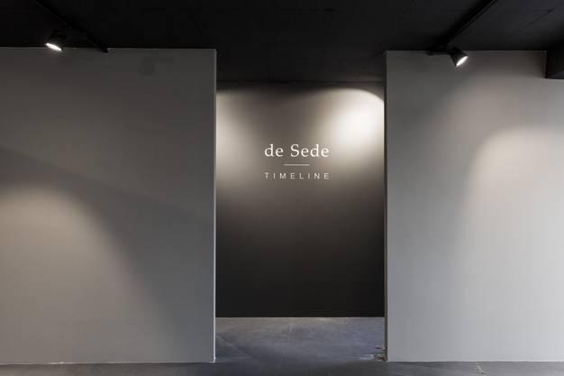 """Eingang zur neu eröffneten Ausstellung """"Timeline"""" über die Geschichte des Möbelherstellers De Sede in Klingnau, am 19. Oktober 2017."""