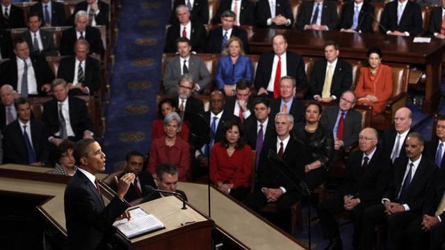 US-Präsident Barack Obama bei seiner Ansprache zur Lage der Nation im vergangenen Jahr (Archiv)