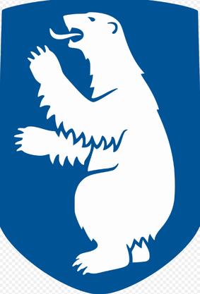 Weisser Bär auf blauem Hintergrund. Das Wappen von Grönland.