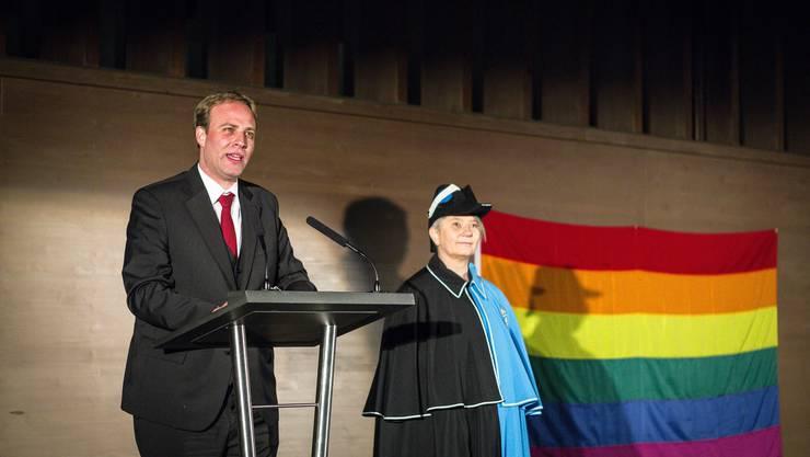 Marco Hardmeier bei seiner Ansprache an der Wahlfeier im KuK in Aarau.