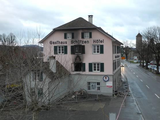 Das ehemalige Hotel Schützen in Laufenburg geriet am 15. Januar in Brand.