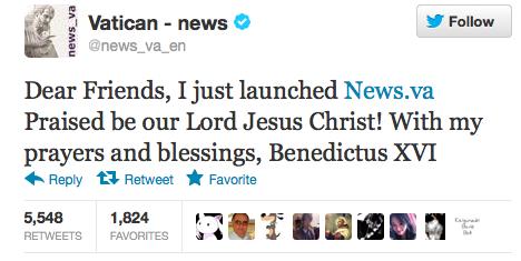 «Liebe Freunde, ich habe gerade News.va lanciert. Gelobt sei unser Herr Jesus Christ! Mit meinen Gebeten und Segnungen» Papst Benedikt war auch ein sehr erfolgreicher Twitterer.