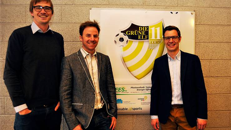 FCS-Funktionäre, die hinter dem Projekt «Grüne Elf» stecken (v.l.):Fabian Putzing, Patrick Bussmann und Stefan Aegerter.