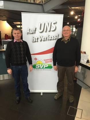 Wahlslogan der SVP Bezirk Dietikon mit den zwei Regierungsratskandidaten (v.l.n.r.) Ernst Stocker und Markus Kägi