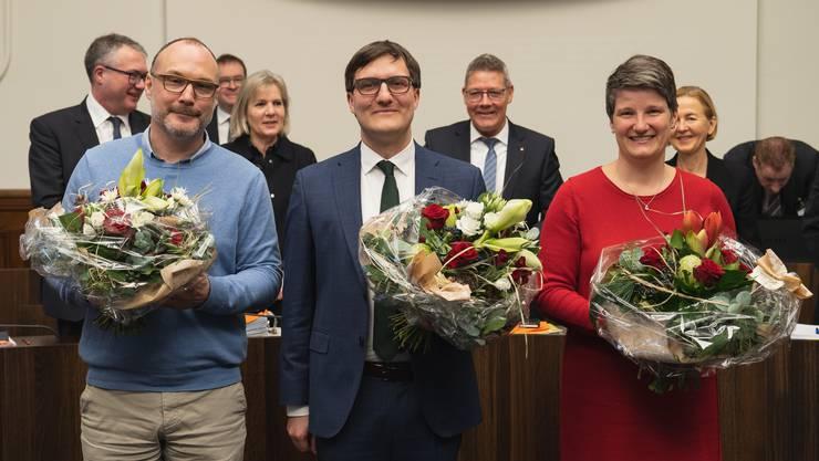 Gruppenfoto der Kantonsratsspitze: (v.l.n.r.) Hugo Schumacher, Daniel Urech, Nadine Vögeli