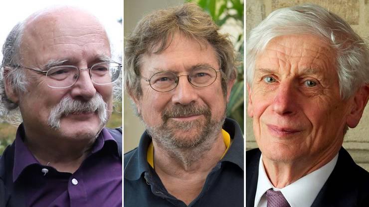 Die Preisträger (v.l.n.r.): Duncan Haldane, Michael Kosterlitz und David Thouless.