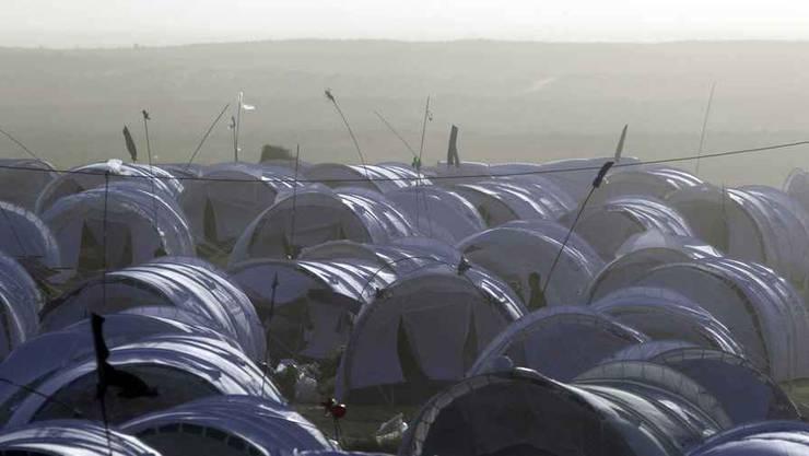 Flüchtlingszelte an der Grenze zwischen Lybien und Tunesion