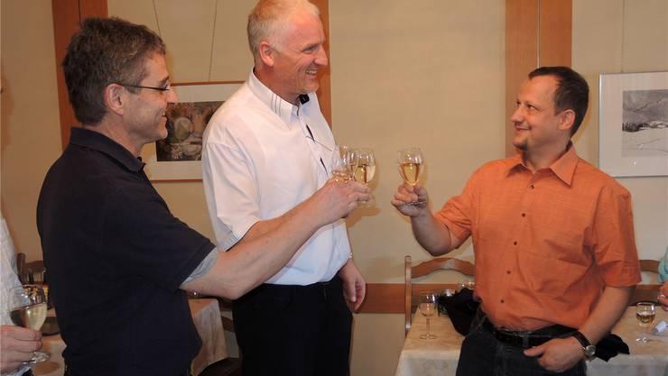 Wahlsieger unter sich: Thomas Steiner, Enrico Sansoni und Thomas Fessler von der CVP. Oliver Menge