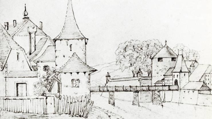 Der Hürligturm, die Wengibrücke, das 1378 zur Sicherung der Aarebrücke erbaute innere Wassertor oder Brückentor und die Bastion St. Georg, die Katzenstiegeschanze, mit dem Haffnerturm. Rechts vom Wassertor das Litzi-Gebäude.