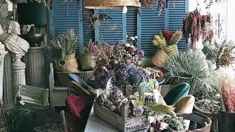 Der Möbel- und Blumenladen Marsano in Berlin trocknet im Lokal Blumen für den Verkauf.