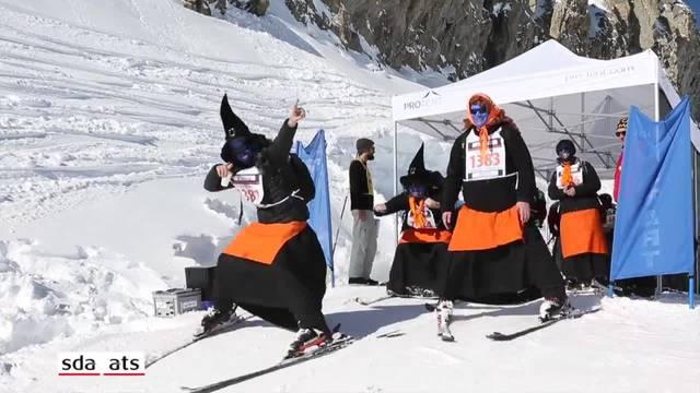 Hexen brettern mit schrillen Gesängen die Piste in Belalp hinunter