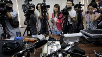 Medienschaffende nach dem Urteil in Hongkong