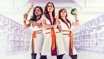 Bitzli Banane, mit welchen Gags der Weg zur Emanzipation geebnet ist: Fabienne Louves, Sandra Studer und Gigi Moto (v.l.).