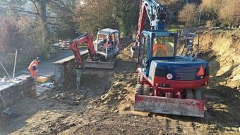 Die Bauarbeiten auf dem Friedhof in Villmergen sind im vollen Gang.