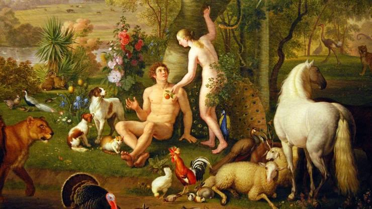 Adam und Eva mit dem verhängnisvollen Apfel.