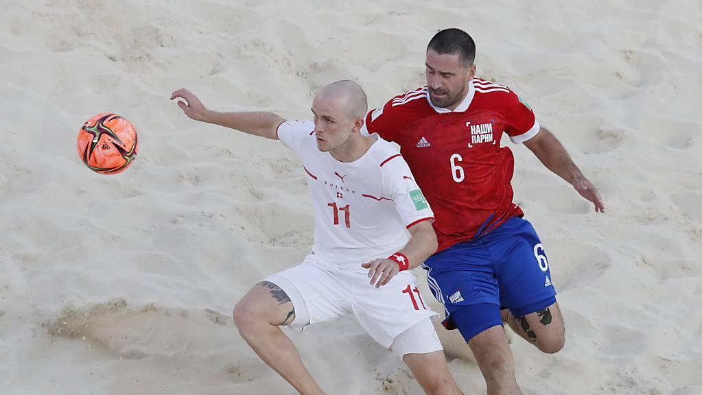 Glenn Hodel und dem Schweizer Nationalteam im Beachsoccer fehlen Sekunden respektive Millimeter zum Einzug in den WM-Final.